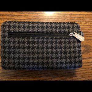 Thirty One Black Gray Clutch Wallet tweed fabric